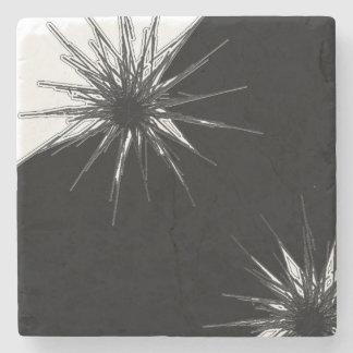 Black and White Marble Stone Flower Burst Coaster