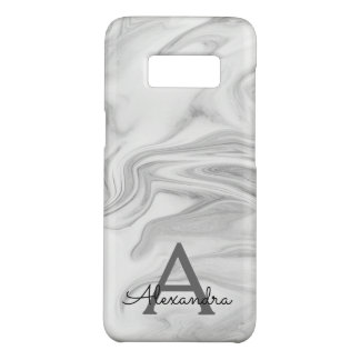 Black and White Marble Stone Monogram Case-Mate Samsung Galaxy S8 Case