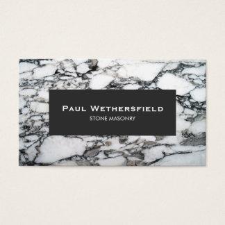 Black and White Marble Stonemason Architect Business Card