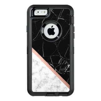 Black and White Marble Texture OtterBox Defender iPhone Case
