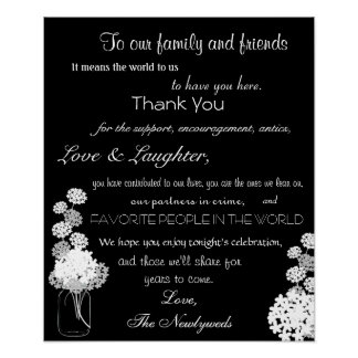 Black and White Mason Jar Wedding Thank You Sign