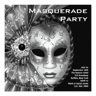 Black and White Masquerade Party 13 Cm X 13 Cm Square Invitation Card