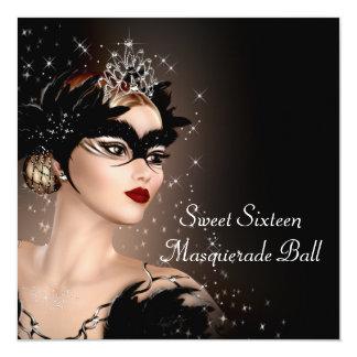 Black and White Masquerade Party 5.25x5.25 Square Paper Invitation Card