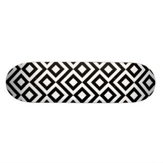 Black and White Meander Custom Skate Board