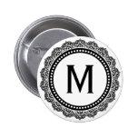 Black And White Medallion Custom Initial Badge