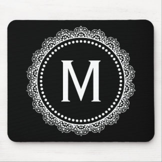 Black And White Medallion Custom Initial Mouse Pad