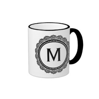 Black And White Medallion Custom Initial Mug