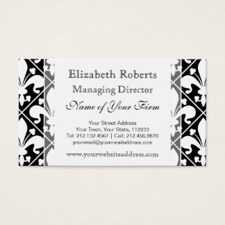 Black and White Medieval French Fleur de Lys Business Card