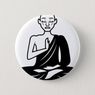 Black and White Meditating Monk 6 Cm Round Badge