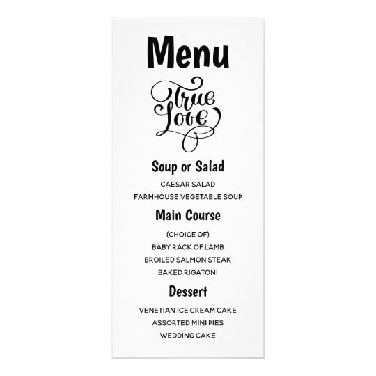 Black and White Menu Typography Love Wedding Party