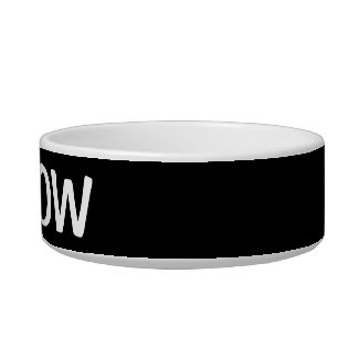 Black and white meow Cat bowl with custom pet name