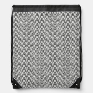 Black and White Mermaid Pastel Pattern Drawstring Bag