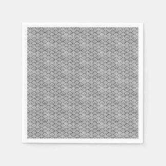 Black and White Mermaid Pastel Pattern Paper Napkins