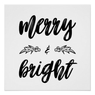 Black and White Merry and Bright Typography Poster