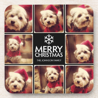 Black and White Merry Christmas Photo Collage Drink Coaster