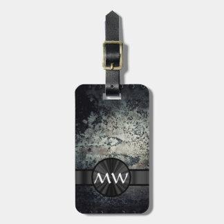 Black and white metallic rust luggage tag