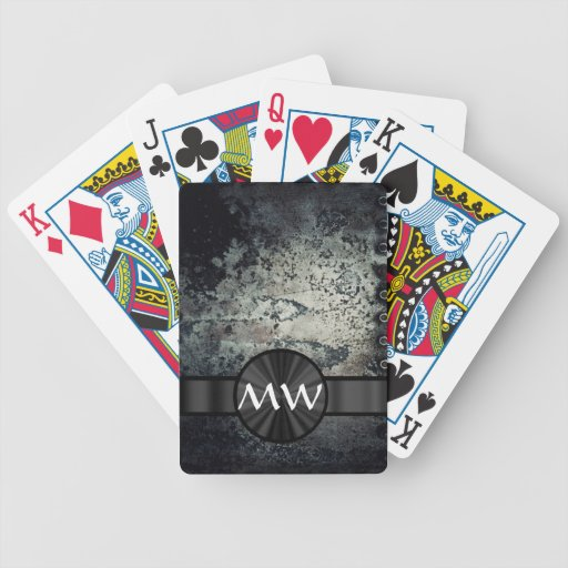 Black and white metallic rust deck of cards