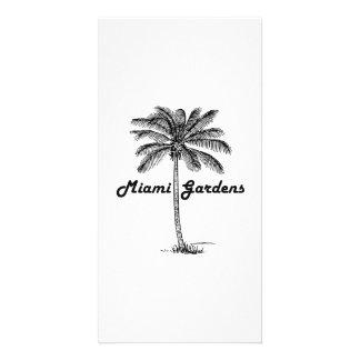 Black and White Miami Gardens & Palm design Custom Photo Card