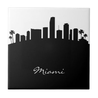 Black and White Miami Skyline Ceramic Tile