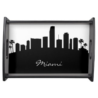 Black and White Miami Skyline Serving Tray