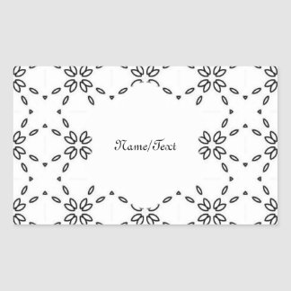 black and white minimal 02 rectangular sticker