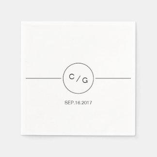 Black and white minimalist modern wedding monogram disposable serviette