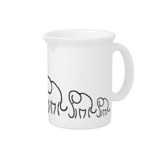 Black And White Minimalistic Stylised Elephants Pitcher