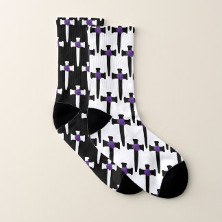 Black and White Mismatched Cross Socks 1