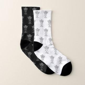 Black and White Mismatched Lucifer Symbol Socks 1