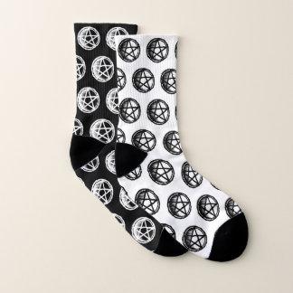 Black and White Mismatched Pentacle Socks 1