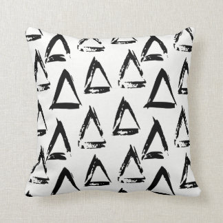 Black and White Modern Bohemian Geometric Triangle Cushion