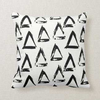 Black and White Modern Bohemian Geometric Triangle Throw Pillow