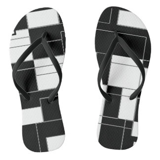 Black and White Modern Checkered Slim Flip Flops Thongs