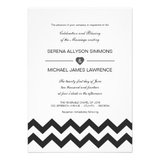 Black and White Modern Chevron Wedding Invitations