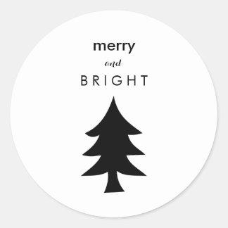 Black and White Modern Christmas Tree Round Sticker