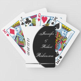 Black and White Modern Circle Posh Wedding Bicycle Playing Cards