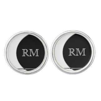 Black and White Modern Circle Wedding Cuff Links