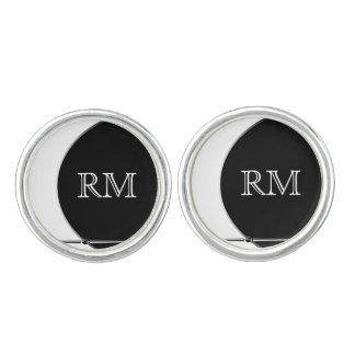 Black and White Modern Circle Wedding Cuff Links Cufflinks