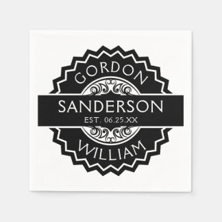 Black and White Modern Custom Wedding Seal | Disposable Napkin