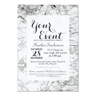 Black and White Modern Faux Marble Pattern 9 Cm X 13 Cm Invitation Card