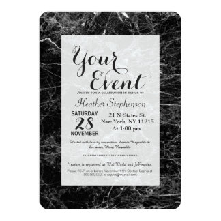 Black and White Modern Faux Marble Pattern 13 Cm X 18 Cm Invitation Card