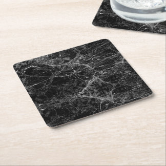 Black and White Modern Faux Marble Pattern Square Paper Coaster