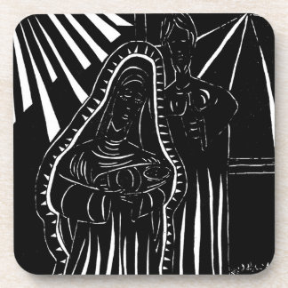 Black And White Modern Holy Family Coaster