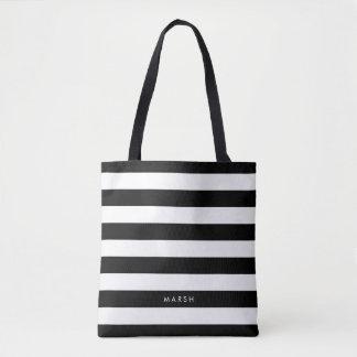 Black and White Modern Striped Pattern Custom Name Tote Bag