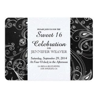 Black and White Modern Swirls Design Card