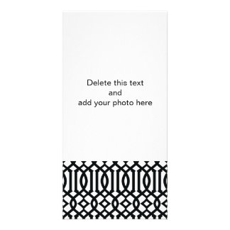 Black and White Modern Trellis Pattern Photo Card