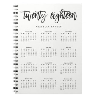 Black and White Modern Typography 2018 Calendar Notebooks