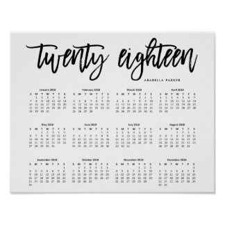 Black and White Modern Typography 2018 Calendar Poster