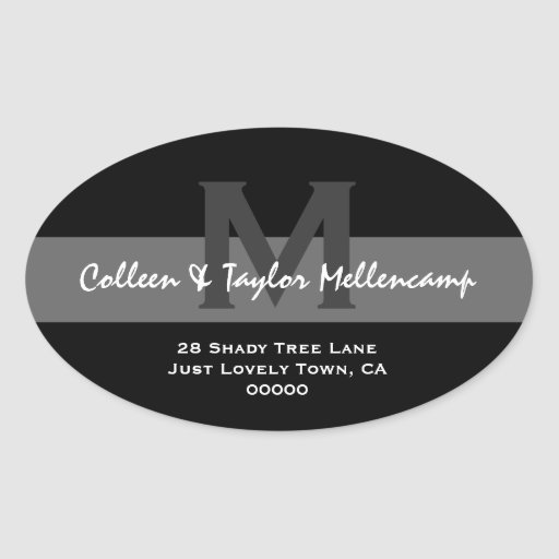 Black and White Modern Wedding Address L001 Oval Stickers