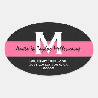 Black and White Modern Wedding Address L204 Oval Sticker